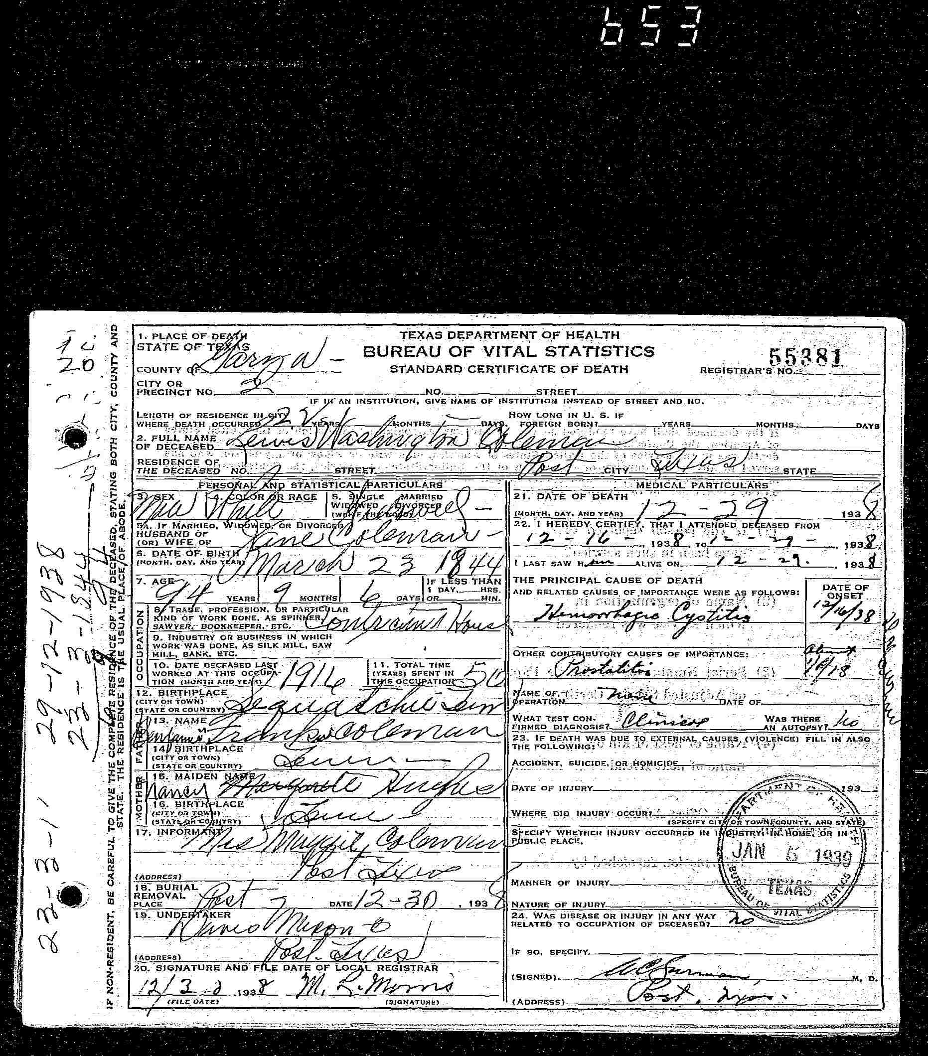 Documents Lewis Washington Colemans Death Certificate